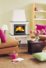 Wood logs burning in stove