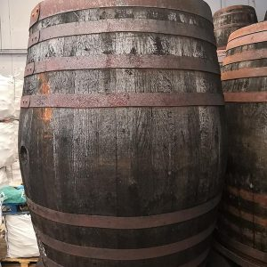 large whole oak whisky barrel